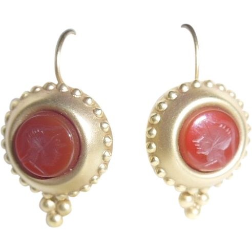 Vintage 14K Carved Carnelian Intaglio Earrings