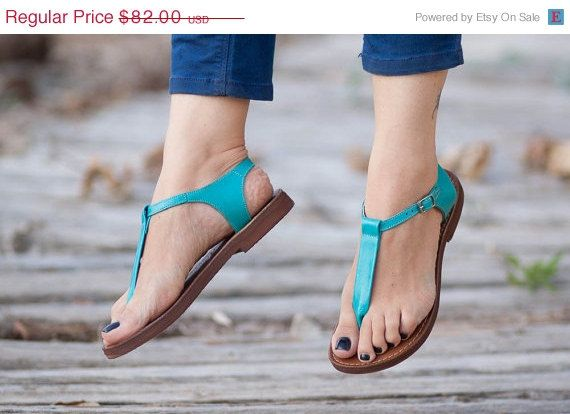 Valentines Day Sale 20%, FREE SHIPPING, Turquoise Leather Sandals, Turquoise Sandals, Summer Shoes, Thong Sandals, T Strap Sandals, Mint San