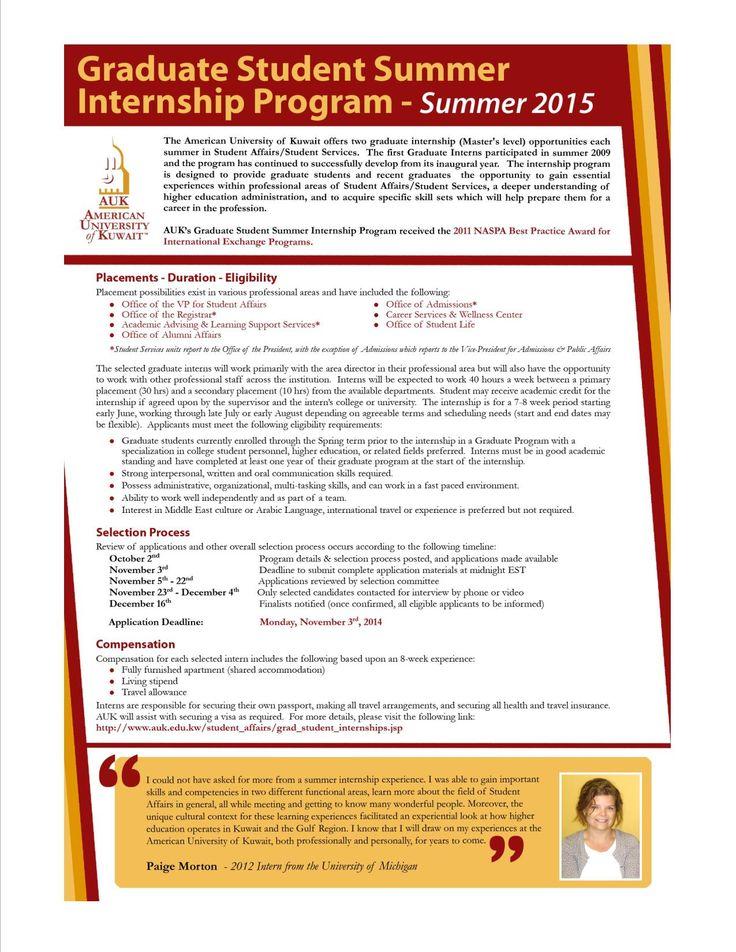 Best Student Affairs Summer Internship Search Information