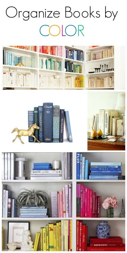 SUCH an easy trick for styling your shelves and letting your favorite home decor objects really shine-- organize your books by color! Here's a few photos for inspiration to get you started. #interiordesign www.makinglemonadeblog.com