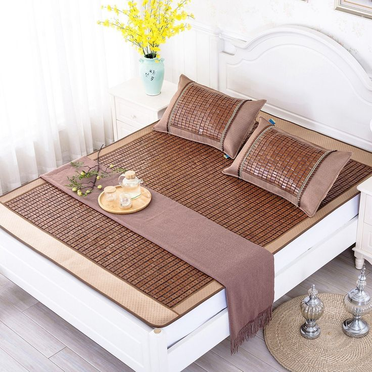 Qbedding Carbonized Bamboo Summer Sleeping Mat Cooling Mattress Topper Pad, King (No Pillow Shams)
