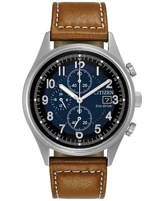 Citizen Men's Eco-Drive Chronograph Brown Leather Strap Watch 42mm CA0621-05L - Watches - Jewelry & Watches - Macy's