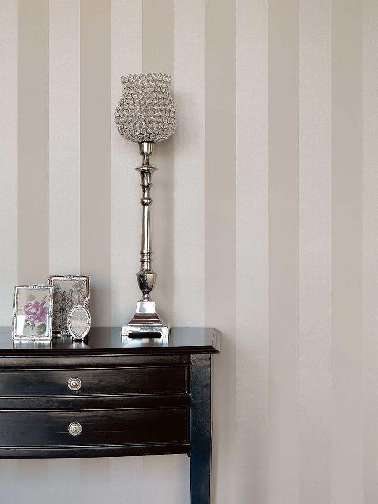 Rasch Textil Bistro Tapete Vlies Block- Streifen champagner creme - tapeten rasch wohnzimmer