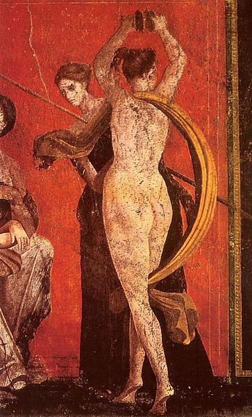Pompeian wall painting, detail from the mysteries hall, Mysteries Villa