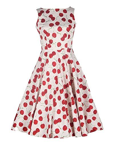Luouse Vintage Cherry Rockabilly Bombshell Halter Pinup Swing Women's  Dress, 4White, Small Luouse http