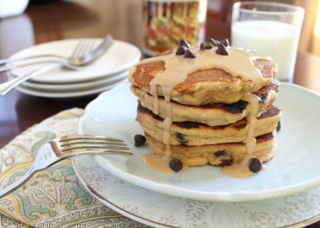 Peanut butter chocolate chip pancakes made with coconut flour. A healthy and decadent pancake breakfast!