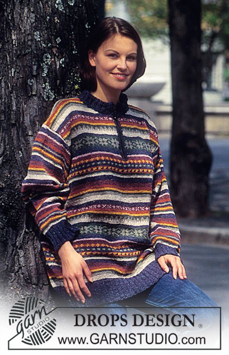 DROPS 48-11 - Sweater in Silke-tweed with borders in Woman and Men sizes. - Free pattern by DROPS Design
