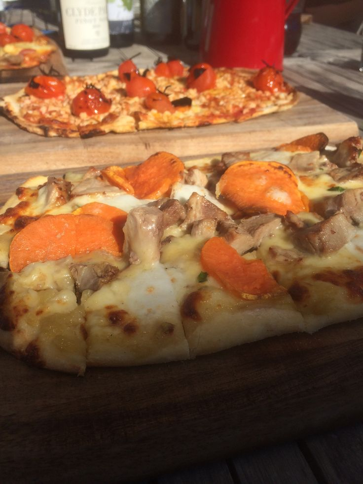 """The """"Sticky Pork"""" pizza, hot out of Clyde Park's woodfire pizza oven! Yum!"""