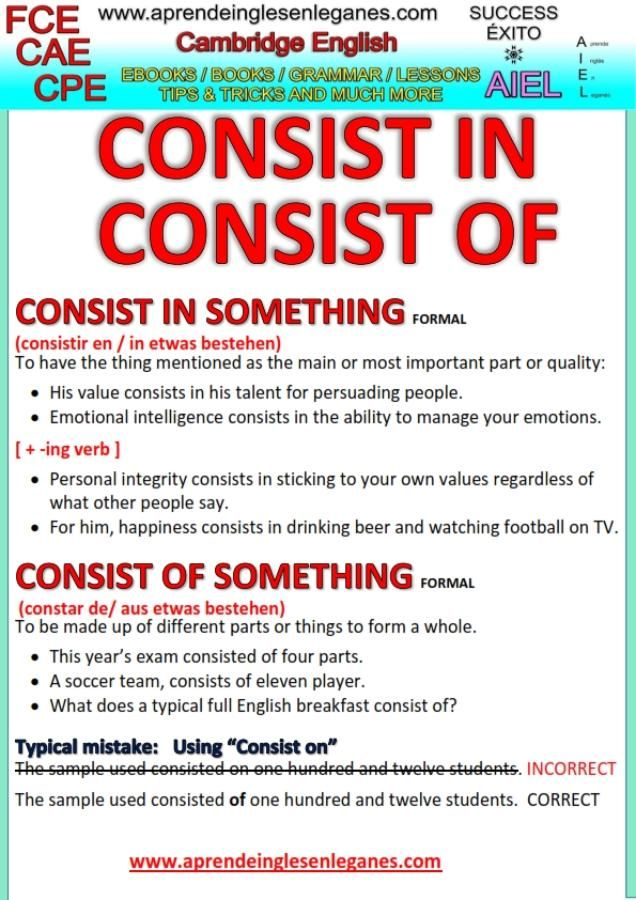 """What is the difference in meaning between the Phrasal verbs """"CONSIST IN"""" and """"CONSIST OF""""? Is """"CONSIST ON"""" correct? Have a look at the grammar sheet below to find out . FCE, CAE, CPE. Advanced English Grammar."""