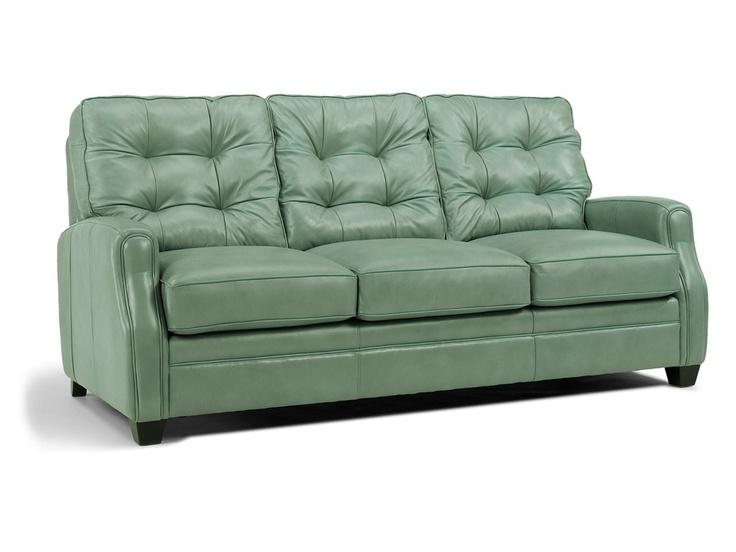Flexsteel Latitudes Flamenco Sofa In Wedgewood Blue Leather.