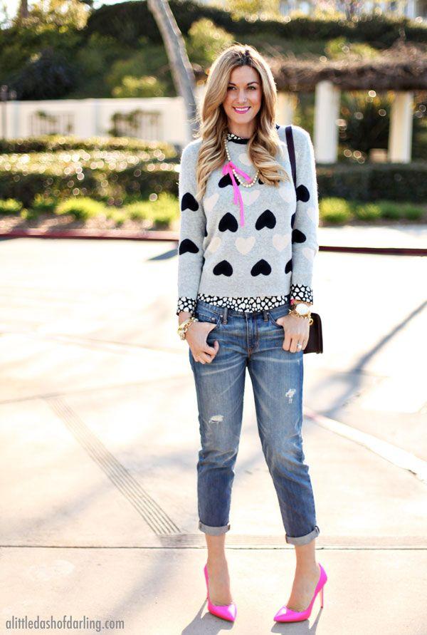 Wear your heart on your sleeve! Sweater: J. Crew // Blouse: J. Crew // Jeans: Gap // Heels: J. Crew // Necklace: J. Crew // Purse: J. Crew // Watch: Kate Spade // Bracelets: Stella & Dot, Bip & Bop, J. Crew, J. Crew, Kate Spade // Lips: YSL (Rouge Volupte)