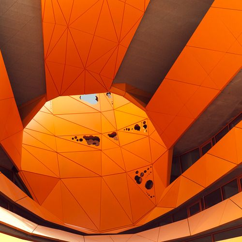 Le Cube Orange  /  Jakob + Macfarlane  /  Photo: © Thomas Perréon  #architecture #orange #cube #lyon #confluence #thomas #perreon #minimalism #color #composition #contemporary