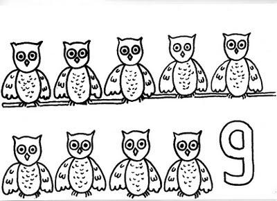 Dibujos para colorear para niños o infantiles, son láminas didácticas: JUEGO APRENDIENDO!!!COLOREO AL NUMERO NUEVE Y A LOS NUEVE BUOS!!!!