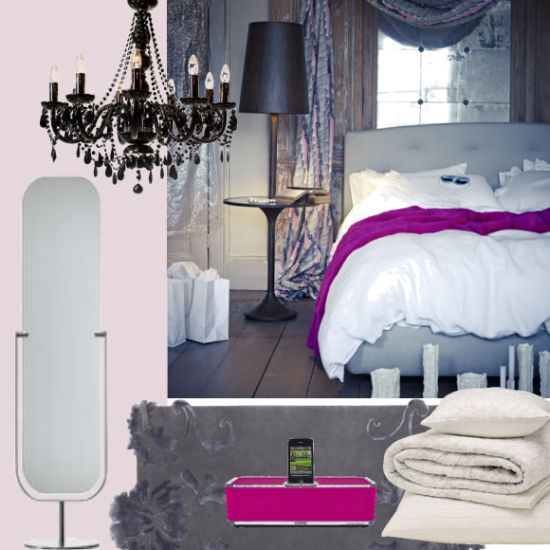 Like the mink pinky grey curtains and the dark purple lampshade
