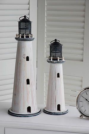 White Lighthouse Tea Light Holders - from http://www.thewhitelighthousefurniture.co.uk