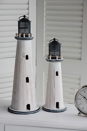 White Lighthouse Tea Light Holders - from http://www.thewhitelighthousefurniture.co.uk