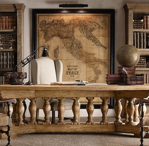Traditional Office | Masculine Workspace | Antique Map | DIY Art | World Map Decor | Home Design