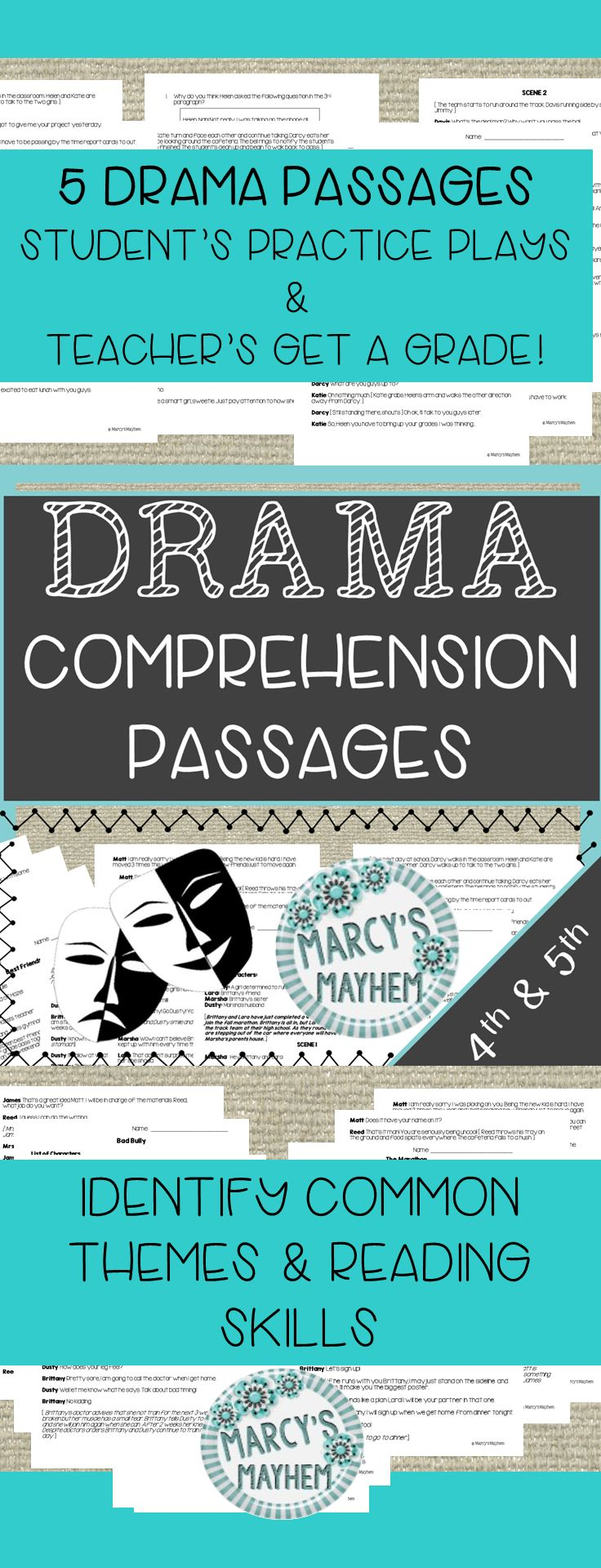 These drama script's are great for students to practice reader's theater and teacher's get a comprehension grade. I created these passages for my 4th and 5th grade students to practice common reading skills.There are 5 plays included in this packet, each play has 5 comprehension questions. Identify these reading skills: Inference,Vocabulary,Text evidence,Theme, Character Analysis,Turning point & Figurative Language