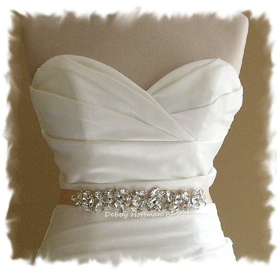 MADE TO ORDER! Each piece is individually handmade to order. Please read my policies page and shop announcement, at the top of my homepage for current production time prior to placing your order. http://www.debbyhoffmanbridal.etsy.com  Gorgeous sash with high quality, genuine crystal rhinestones that I have carefully hand sewn onto double faced white, off-white (diamond white), bridal white (light ivory), ivory, blush, champagne beige, taupe, antique mauve, silver, pool blue, charco...
