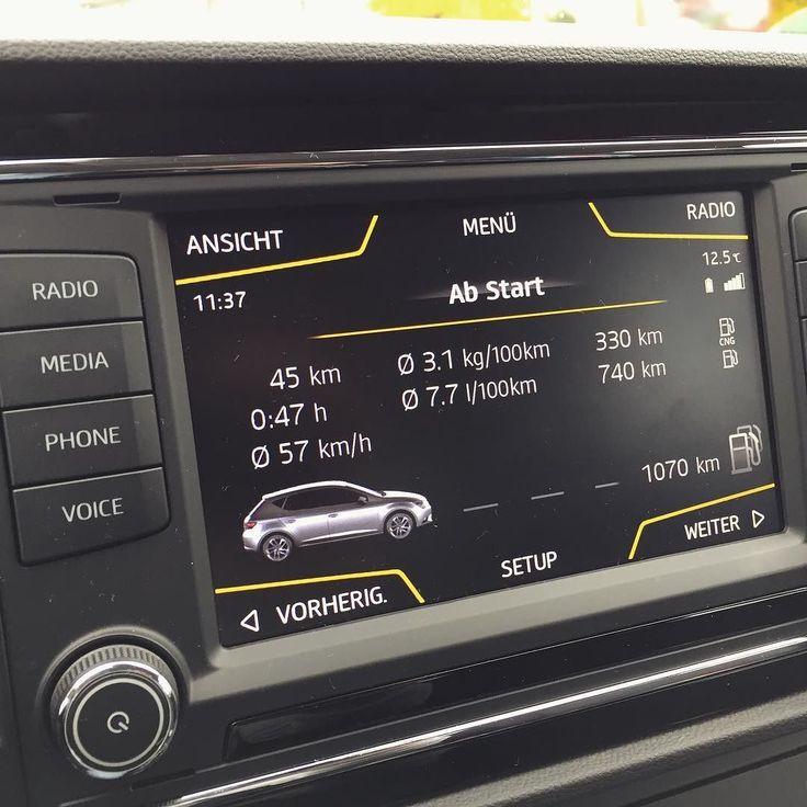 Aktuelle Verbrauchstatistik - ist mein Rückweg von der Uni nach Hause. Bin von Erdgas und vom Seat Leon total fasziniert - Verbrauch von 31 kg/100 km bedeutet bei einem Preis von 107/kg Erdgas 332/100 km  Wahnsinn!!  #Auto #erdgasmobil #Erdgas #cng #erdgasauto #seat #leon #lifestyle
