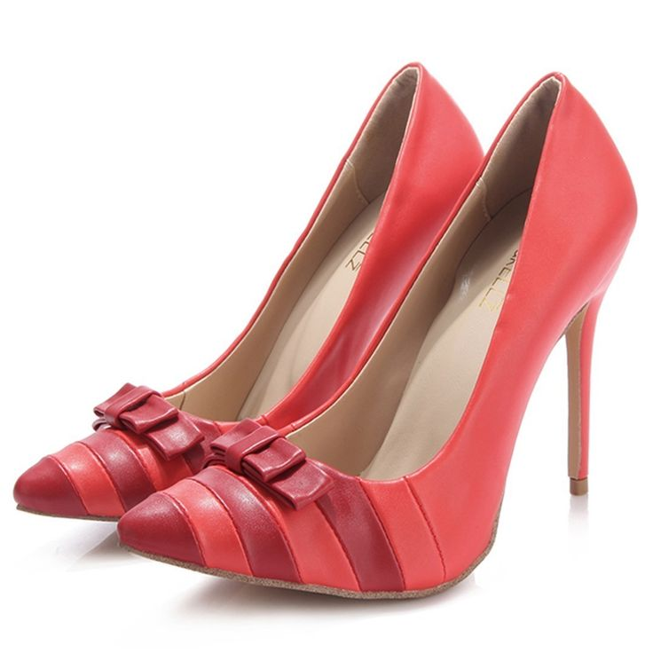 Shoespie Red Chic Bow Knot Patchwork Stiletto Heel Court Shoes