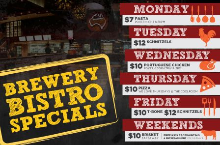 Check out our daily specials @ The Australian Hotel and Brewery
