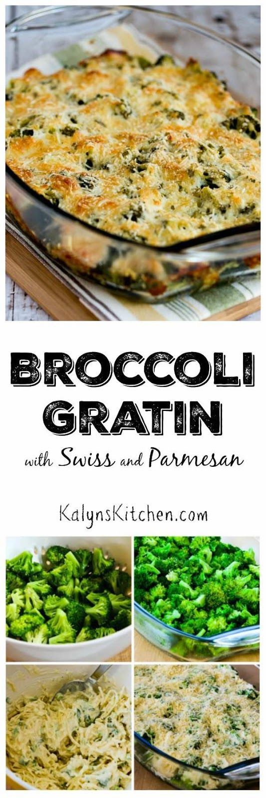 One of my family's favorite holiday side dishes is this low-carb and gluten-free Broccoli Gratin with Swiss and Parmesan. This is so delicious and it's easy enough to make for a week-night dinner.  [found on KalynsKitchen.com]