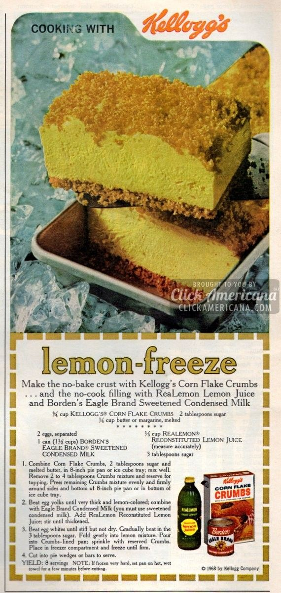 No-Bake Lemon Freeze dessert recipe (1968) my grandmother used to make this.  found recipe and thought move over cottage cheese and lays  haha
