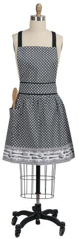 "This pretty, cute and fun Spoonful of Life women's Apron features a gray bodice with white polka dots, black adjustable shoulder strap, and white polka dot right side pocket. Skirt features a bottom white border with gray detailing and displaying forks, knifes, and spoons. Apron measures 26"" x 33"". 100% Cotton."