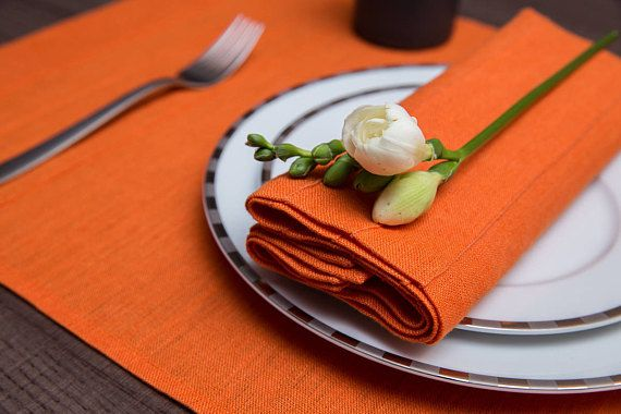 Orange dinner set of 2 placemats2 napkins 100% natural