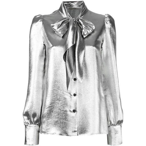 Saint Laurent metallic pussybow blouse ($1,795) ❤ liked on Polyvore featuring tops, blouses, grey, bow neck blouse, puff sleeve top, puffy sleeve blouse, puffed sleeve blouse and pussy bow blouse
