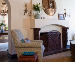 spanish revival interior living room mediterranean with chevron transitional wall sconces