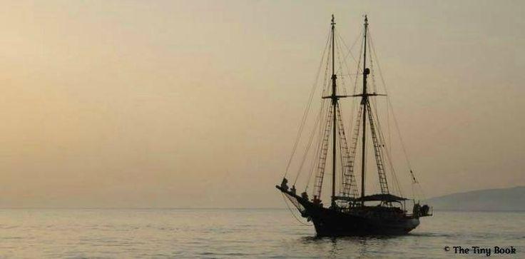 Boat. Sunset Mykonos port.