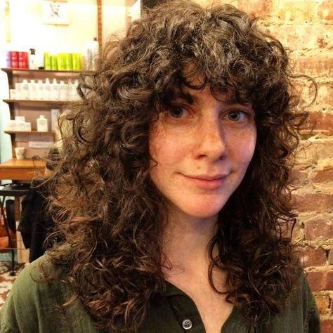 retro curly shag cut hair