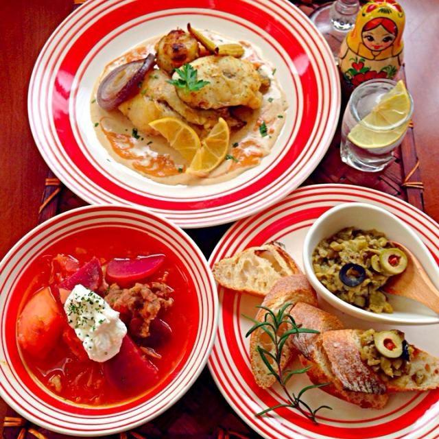 めっちゃ寒い今日この頃⛄️ソチオリンピック開幕みたらボルシチ食べたくなりロシアン料理  素敵美味しいレシピありがとうございます✨ウォッカで温まりいい気分(笑) - 137件のもぐもぐ - Tonight Amigo's Russian cuisine Dinner茄子キャビバゲット・ボルシチ・鱈と帆立のムニエル by honeybunnyb