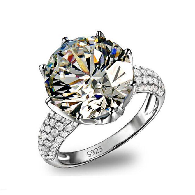 SHUANGR Big CZ Pedra Jóias Cor Prata-Anéis de Noivado De luxo Casamento bague para as mulheres bijoux acessórios