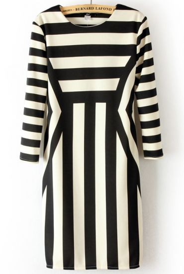Black White Long Sleeve Asymmetrical Striped Dress pictures