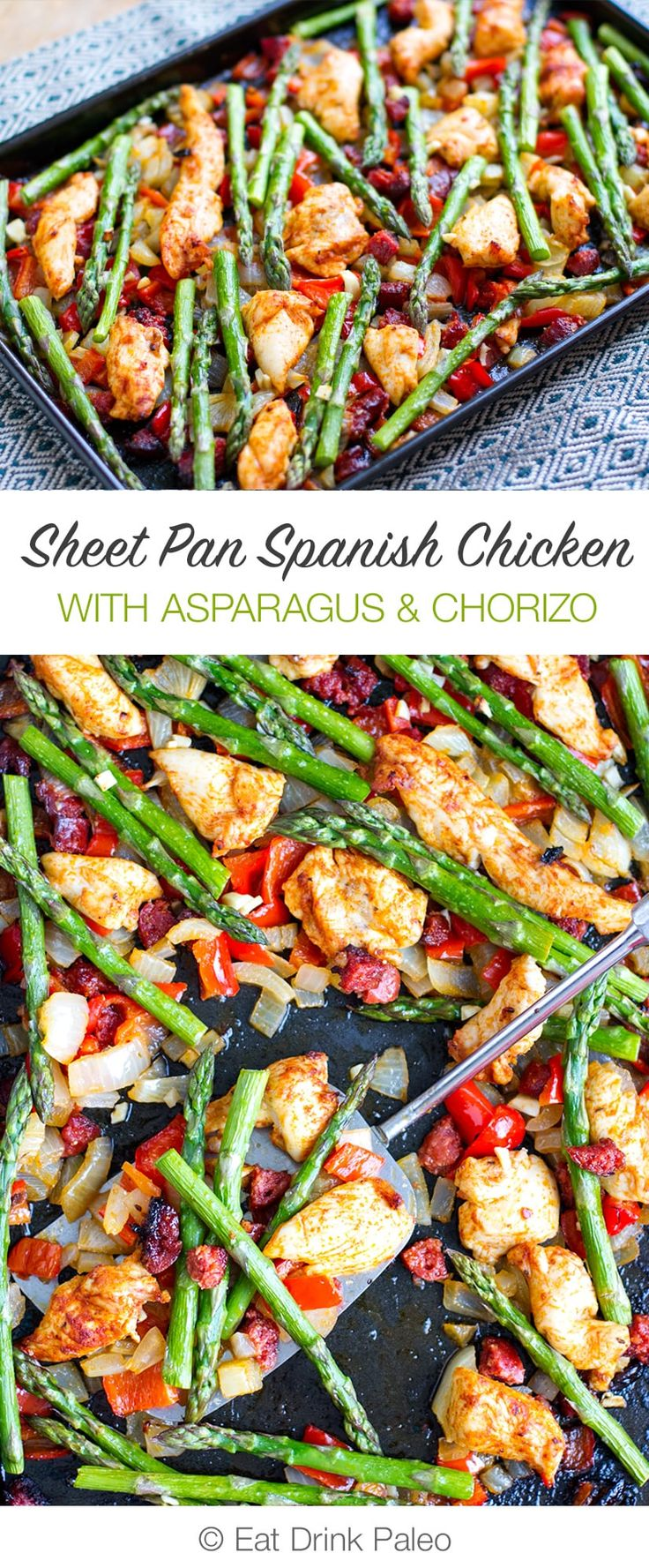 Sheet Pan Roasted Asparagus and Chicken With Chorizo | http://eatdrinkpaleo.com.au/sheet-pan-roasted-asparagus-chicken-with-chorizo/