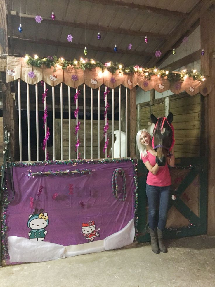 My horse's Christmas stall for 2014. Year three for our Christmas stall decorating contest. This year I went a little non-traditional and did a Hello Kitty theme for my horse! Apache played along well and even let me put pink hair extensions in his forelock.