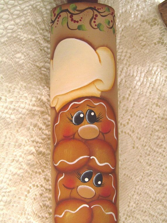 Gingerbread Hand Painted Large Wood Rolling by PaintingByEileen, $26.00
