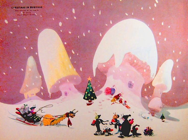 Art Riley. The series of paintings presented in this post, entitled Christmas in Bugville, were published in Ideals magazine in the early-1950s. http://www.cartoonbrew.com/illustration/christmas-in-bugville-by-disney-legend-art-riley-92059.html