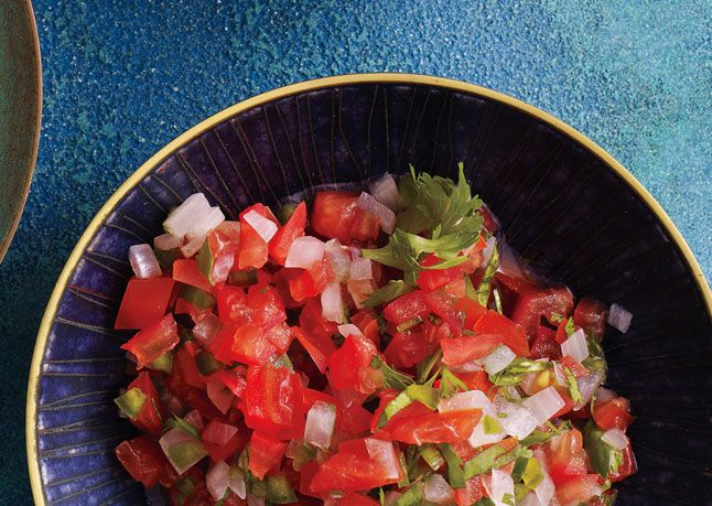 Pico de Gallo. Soaking the onion takes out the harshness and totally makes this fresh salsa.