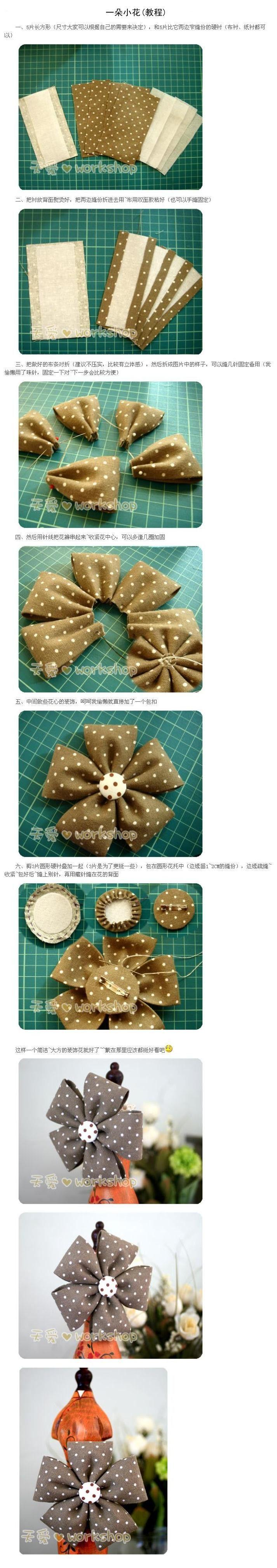 Mejores 489 imágenes de Flores (fabric flowers) en Pinterest ...