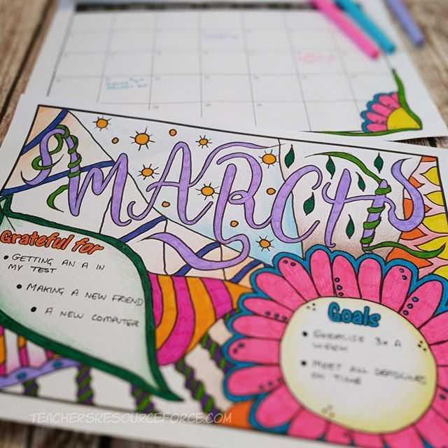 """Happy 1st day of March everyone! Time for a new page on my colouring calendar. I've had this month already coloured in since I first made it as March was my example page 😁. I may change some of my """"grateful"""" and """"goals"""" however... although I did ace my observation, so that's the equivalent of an A on my test! 😂  What happened in February that you are most grateful for? I'm happy I had a half term break last month, that was wonderful lol! 👍 . . . #iteach #iteachtoo #teachersofig…"""