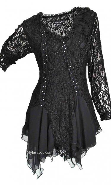 Pretty Angel Clothing Samantha Tunic In Black Pretty Angel Clothing Ladies Unique Vintage Tunic [ALLS10539BK Reto Lace Tunic]