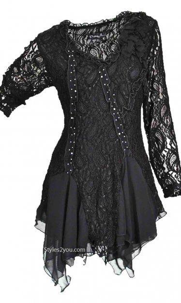 Pretty Angel Clothing Samantha Tunic In Black Pretty Angel Clothing Ladies Unique Vintage Tunic [ALLS10539BK Reto Lace Tunic]