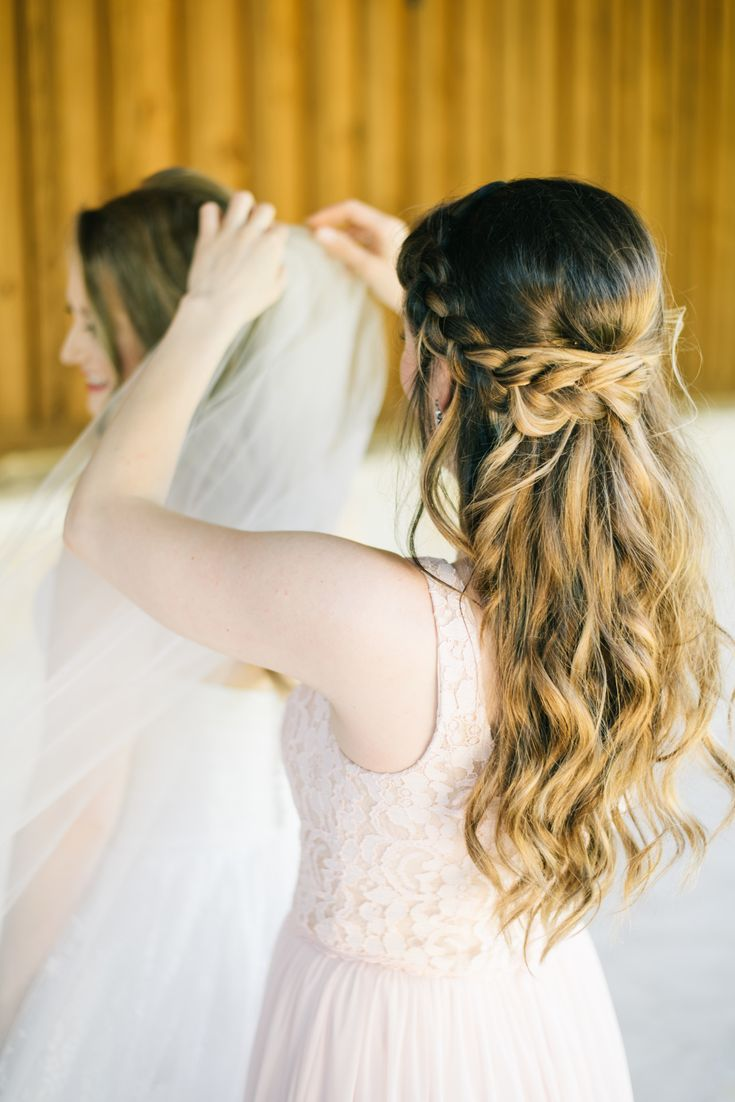 | bridesmaid half up half down hairstyles | bridesmaid hair ideas | formal half up half down hairstyle | ombre wedding hair | half up half down braid ...