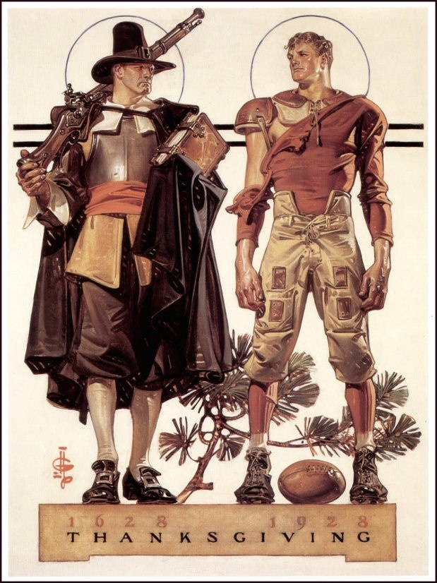 J. C. Leyendecker (1874-1951) Pilgrim and Football Player, 1928 or, Thanksgiving 1628-1928 –300 years Cover illustration for The Saturday Evening Post (November 24, 1928)