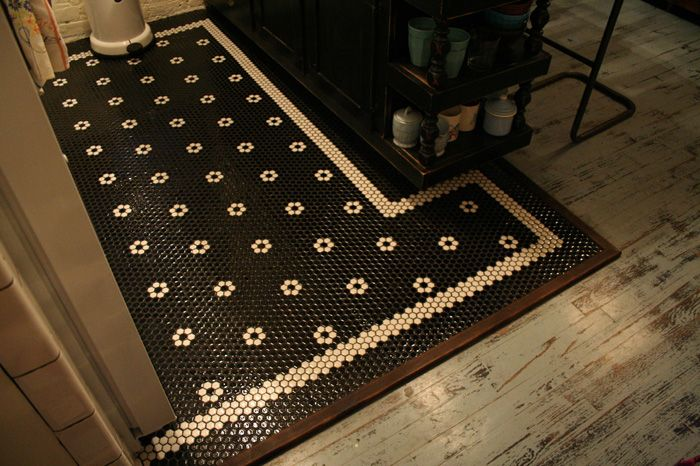 Black Hex Floor Tile Bathroom Ideas Pinterest