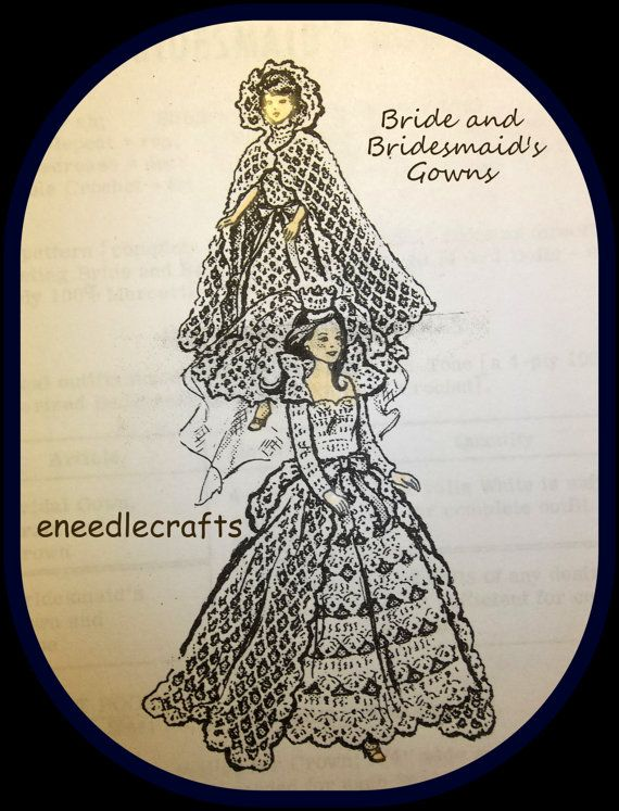 Etsy listing at https://www.etsy.com/listing/186145797/crochet-bride-and-bridesmaids-gowns-for